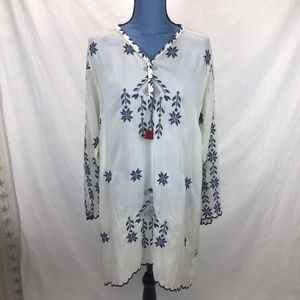 Johnny Was White Sheer Tunic Top Blue Embroidery